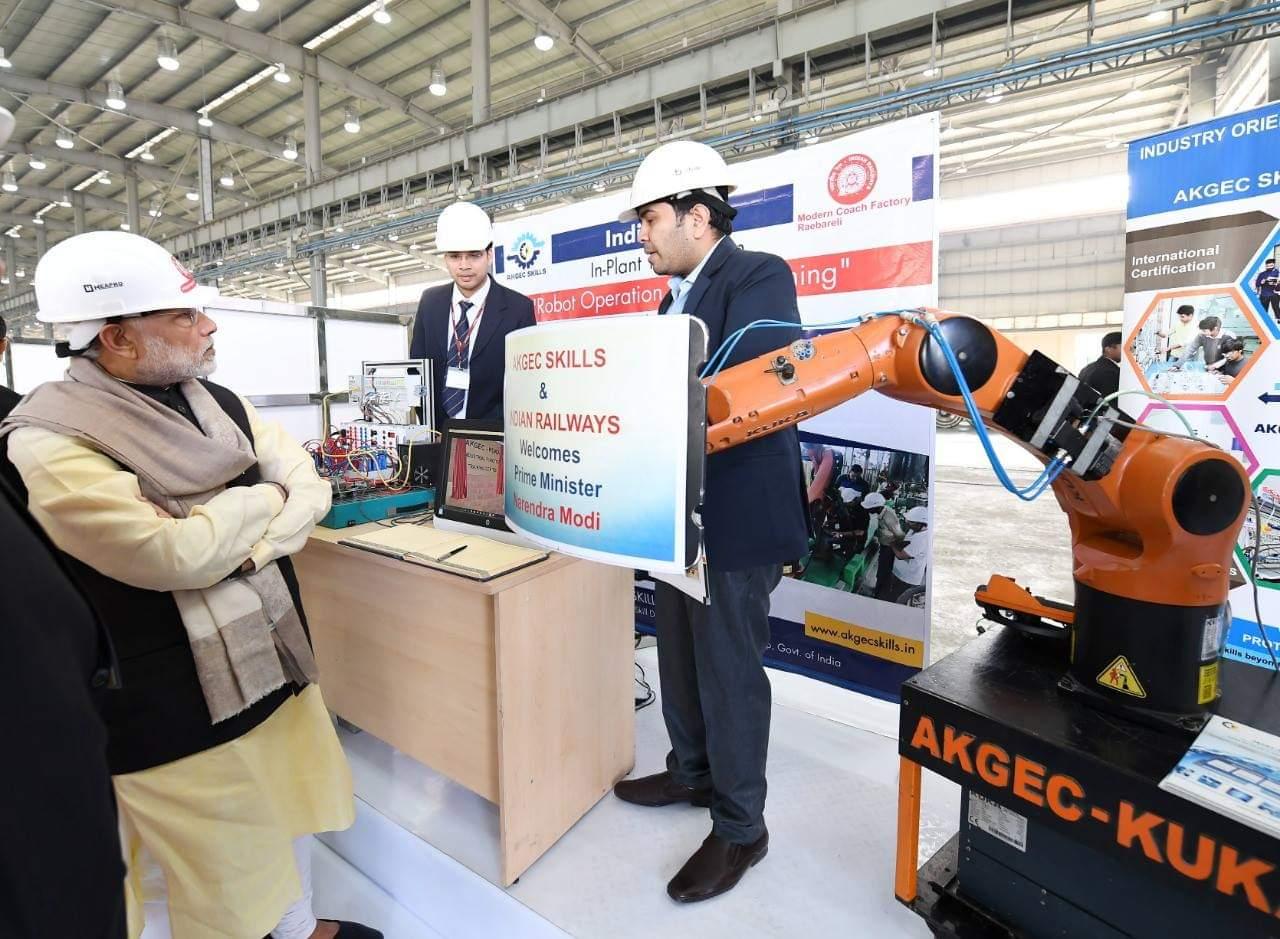 PM Modi visits AKGEC Skills Stall