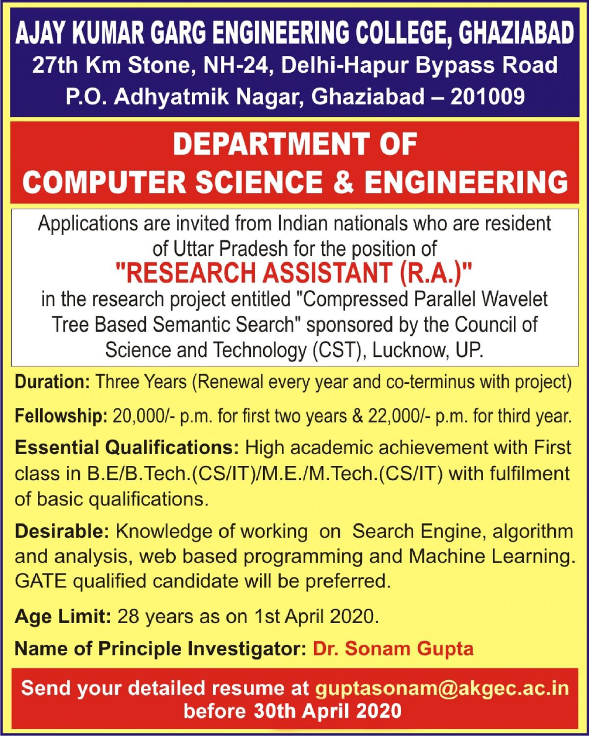 Requirement for Research Assistant