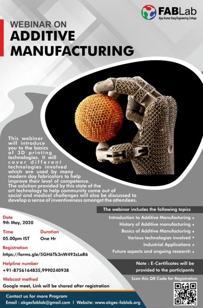 Webinar on Additive Manufacturing