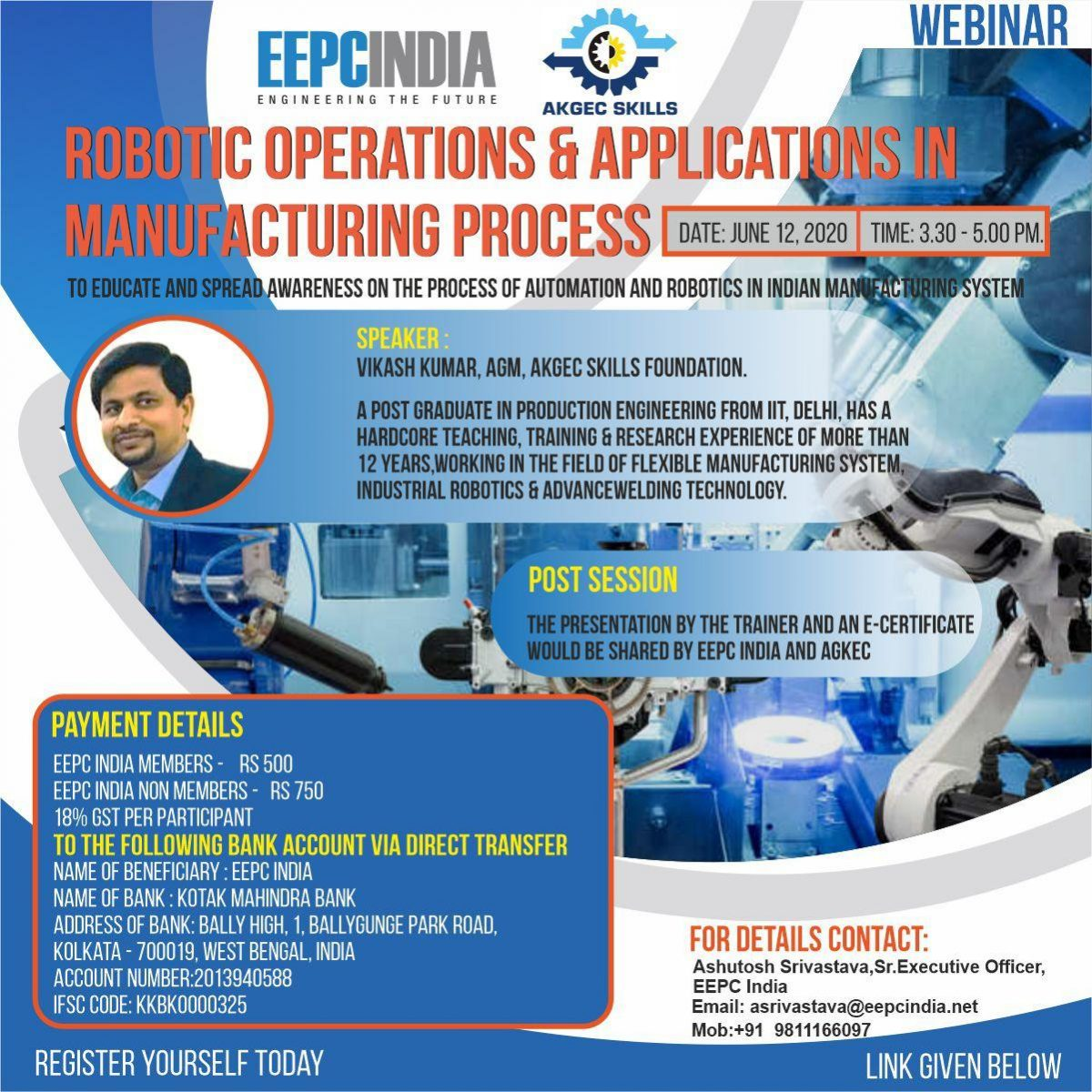 Webinar on Robotic Operations & Applications in Manufacturing Process