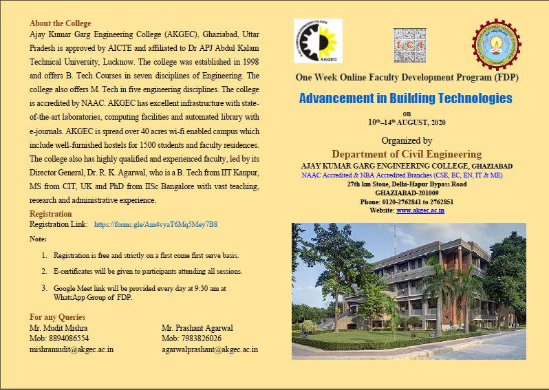 FDP on Advancement in Building Technologies