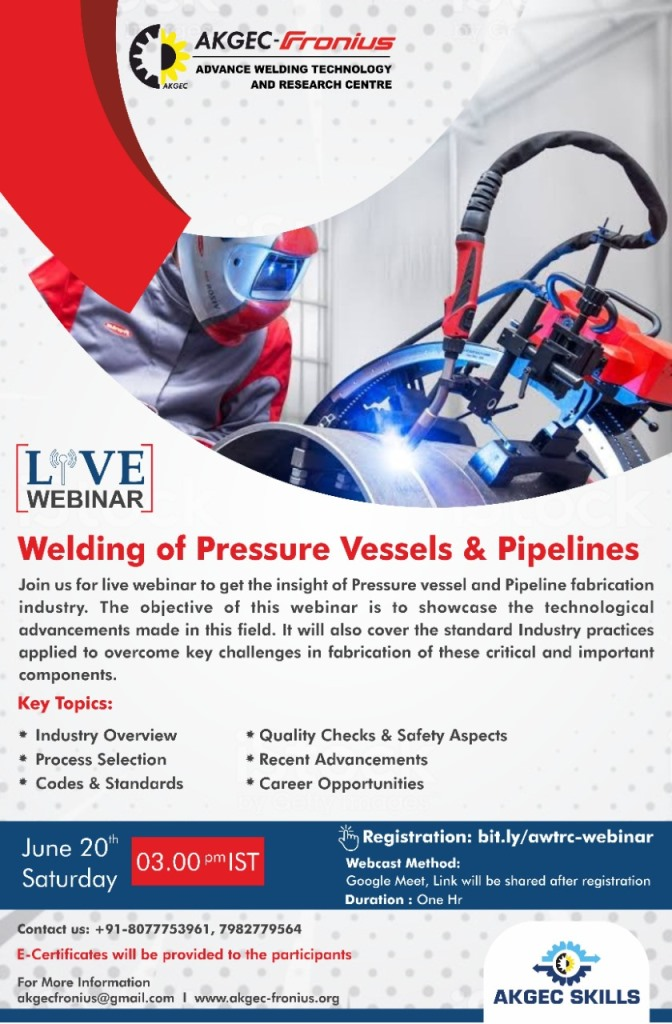 Webinar on Welding of Pressure Vessels & Pipelines