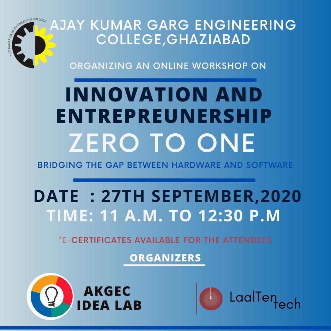 Online Workshop on Innovation and Entrepreunership