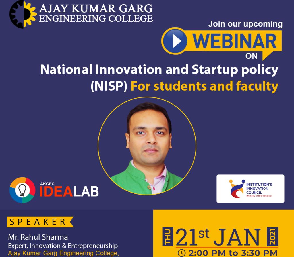 Webinar on National Innovation Startup policy (NISP)