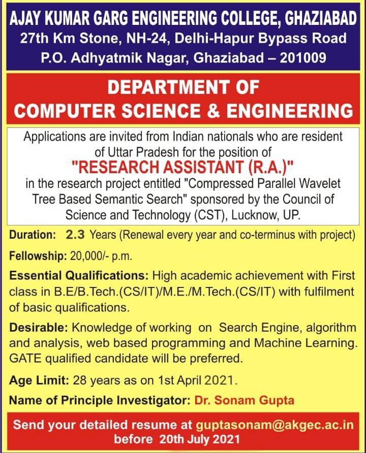 Advertisement for recruitment of RA